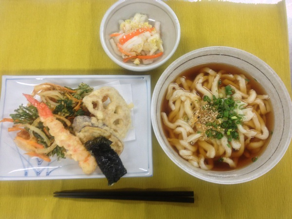 Chinese Cabbage and Carrot Shiokojizuke (top) Tempura and Udon (bottom)