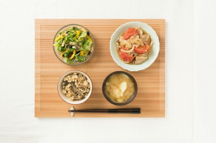 Miso Dressing Salad and Pork and Tomato Miso Saute (top). Miso Rice and Miso Soup (bottom).
