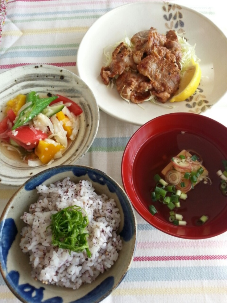"Clockwise from top to bottom: ,<a title=""Amazake Miso Pork"" href=""https://kitchennippon.com/2015/03/21/amazake-miso-pork/"">Amazake Miso Pork</a>,Yakumi Tofu soup, <a href=""https://kitchennippon.com/2015/03/21/yukari-gohan/"">Yukari Gohan</a>,<a title=""Summer Salad with Amazake Dressing"" href=""https://kitchennippon.com/2015/05/14/summer-salad-with-amazake-dressing/"">Summer Salad with Amazake Dressing</a>"