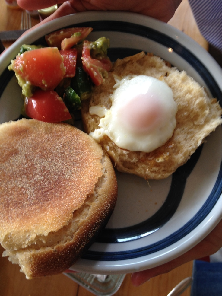 C.A.T. Salad, Fried Frozen Egg on Natural Yeast English Muffins