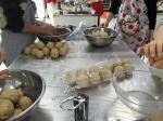 form the soy-bean-kōji-and-salt paste into balls